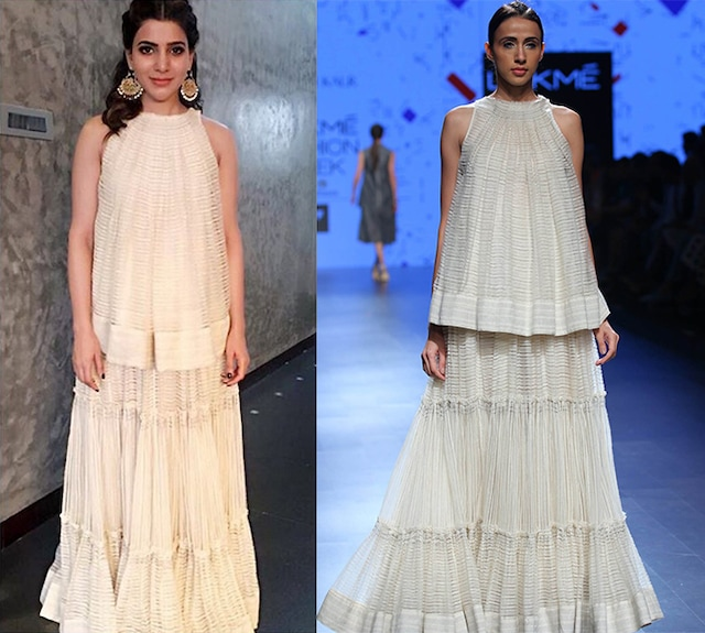 Ecru stitch line long skirt by Urvashi Kaur