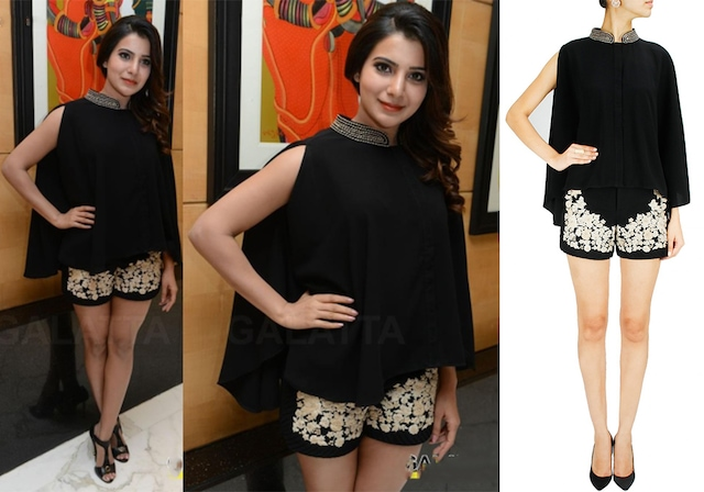 Black embroidered cape and shorts by Ridhi Mehra