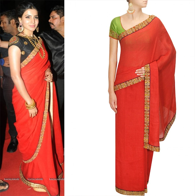 Red embellished mashru border sari with green embroidered blouse by Tisha Saksena