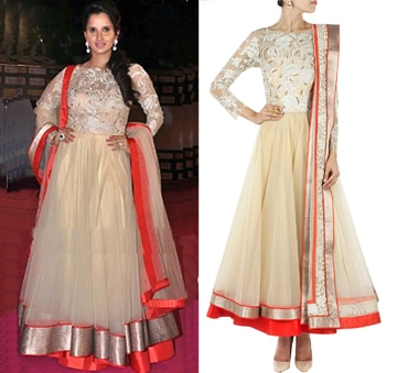 Ivory floral motifs anarkali by Jade by Monica and Karishma