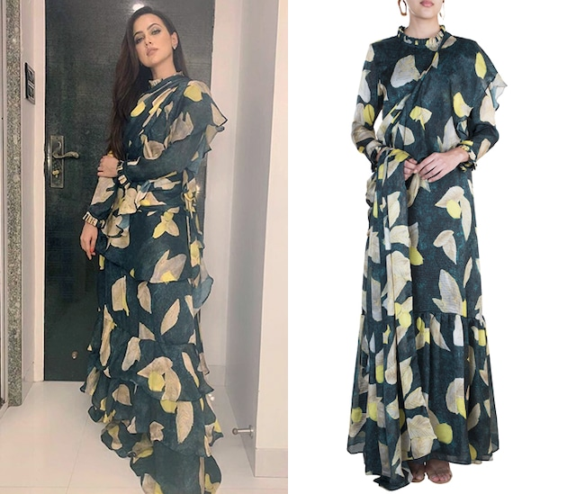 Deep Green Tropical Printed Tiered Saree Gown by Prints By Radhika