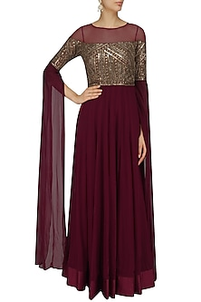 Deep Maroon Sequins Embellished Cape Sleeves Gown by Sanya Gulati