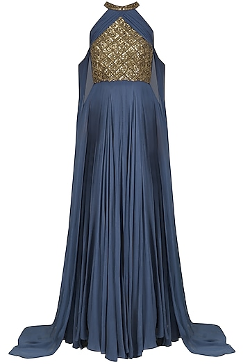 Blue Sequins Embellished Cape Sleeves Gown by Sanya Gulati
