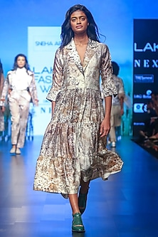 Brown Embroidered Printed Dress by Sneha Arora
