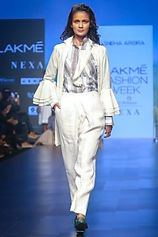 White Embroidered Long Shirt by Sneha Arora