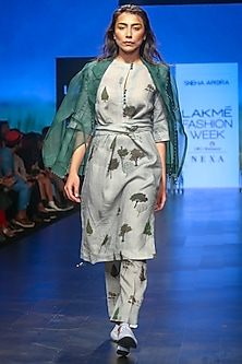 Olive Green Printed Tunic With Tie-Up by Sneha Arora