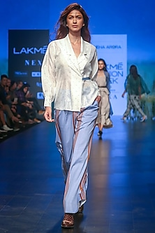 Carolina Blue Striped Trouser Pants by Sneha Arora