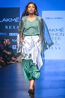 Green Sheer Bomber Jacket by Sneha Arora