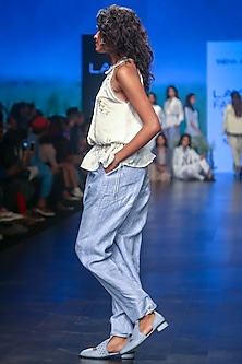 Powder Blue Woven Trouser Pants by Sneha Arora