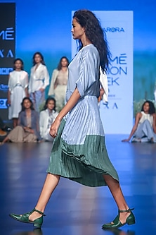 Blue & Green Pleated Dress by Sneha Arora