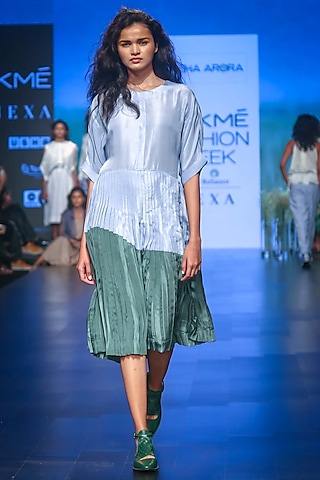 Blue & Green Pleated Dress by Sneha Arora