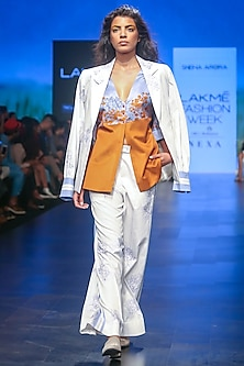 White Printed Flared Trouser Pants by Sneha Arora