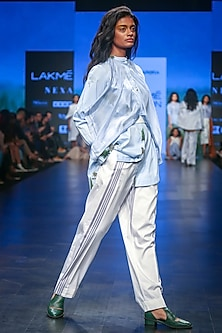 White Striped Trouser Pants by Sneha Arora