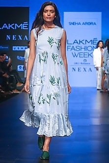 Blue Printed Tiered Dress by Sneha Arora