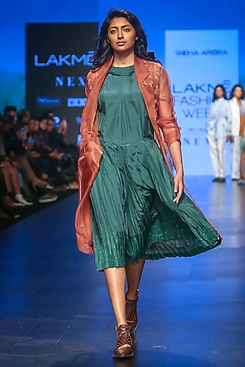 Dark Green Pleated Dress by Sneha Arora