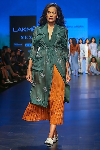 Dark Green Embroidered Trench Jacket by Sneha Arora
