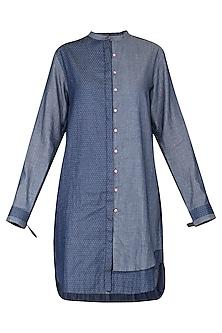 Blue Denim Long Shirt by Sneha Arora