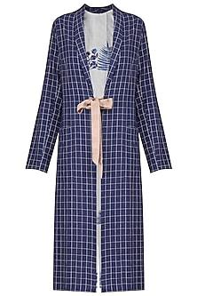 Indigo Checkered Jacket by Sneha Arora