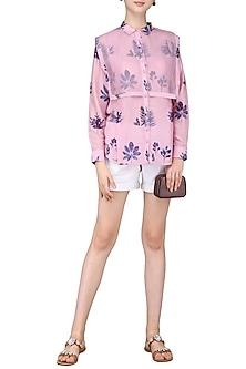 Lilac Leaf Printed Shirt by Sneha Arora