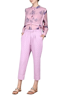 Lilac Polka Dots Trousers by Sneha Arora