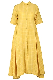Yellow Checkered Print Flared Dress by Sneha Arora
