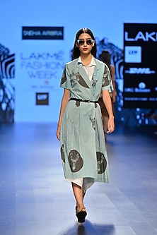 Aqua and black reindeer print wrap dress by Sneha Arora