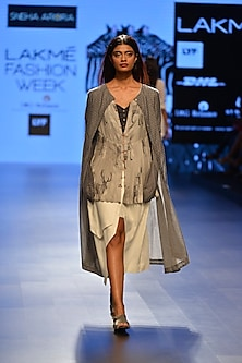 Grey polka dotted long tunic by Sneha Arora