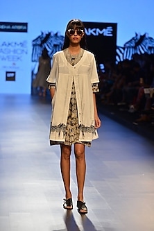 White zebra printed overlayer top by Sneha Arora