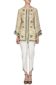 Beige Short Kurta with Dhoti Pants Set by Samatvam By Anjali Bhaskar