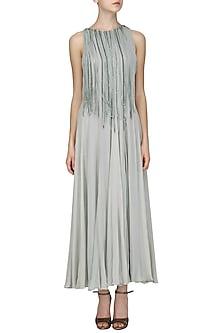 Silver Grey Embroidered Tasseled Gown by Samatvam By Anjali Bhaskar