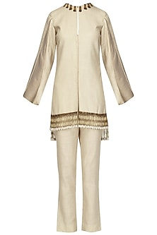 Beige Cape Sleeves Jacket with Pants Set by Samatvam By Anjali Bhaskar