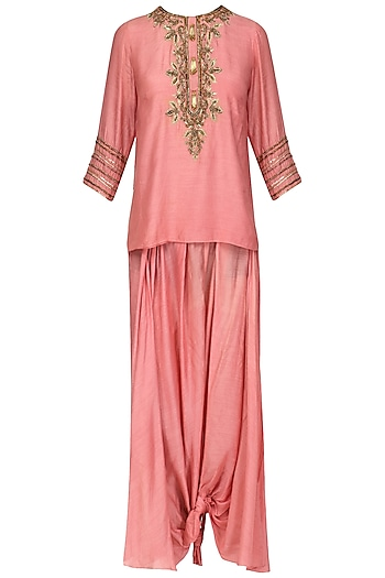 Old Rose Pink Embroidered Tunic with Dhoti Pants Set by Samatvam By Anjali Bhaskar