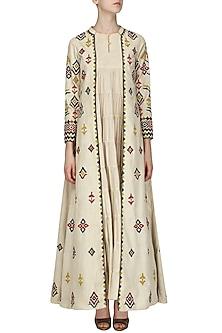 Beige Embroidered Jacket with Layered Kurta by Samatvam By Anjali Bhaskar