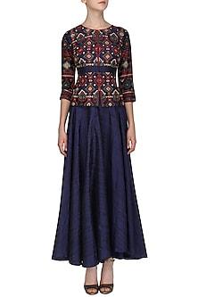 Midnight Blue Embroidered Jacket with Skirt by Samatvam By Anjali Bhaskar