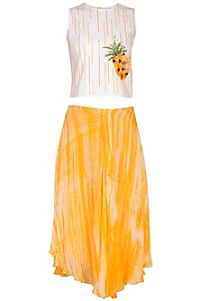 Yellow Embroidered Top With Tie & Dye Printed Skirt by Samatvam By Anjali Bhaskar