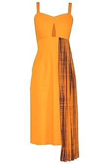 Turmeric Yellow Tie & Dye Printed Pleated Dress by Samatvam By Anjali Bhaskar