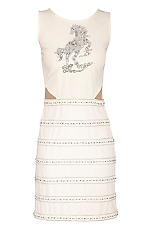 Ivory Embellished Side Cut Out Dress by Samatvam By Anjali Bhaskar