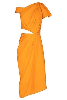 Turmeric Yellow Asymmetrical Draped Dress by Samatvam By Anjali Bhaskar