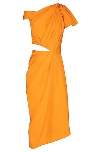 Turmeric Yellow Asymmetrical Draped Dress by Samatvam By Anjali Bhaskar