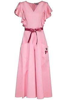 Pink Jumpsuit With Sequins Belt by Samatvam By Anjali Bhaskar