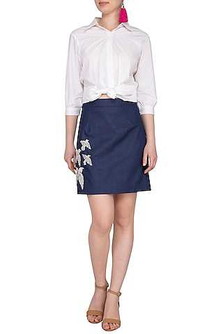 Blue Embellished Denim Skirt With Knotted Crop Top by Samatvam By Anjali Bhaskar