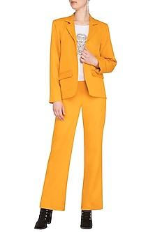 Yellow Blazer Set With Embellished Top by Samatvam By Anjali Bhaskar