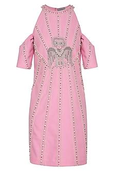 Pink Embroidered Cold Shoulder Dress by Samatvam By Anjali Bhaskar
