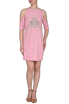 Pink Embroidered Cold Shoulder Dress by Samatvam By Anjali Bhaskar