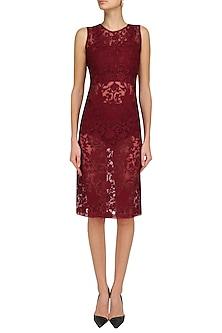 Burgundy Embroidered Organza Dress with Body Suit by Samatvam By Anjali Bhaskar