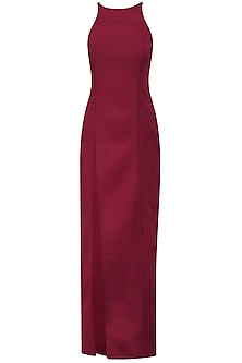 Burgundy Thigh Hig Slit Maxi Dress by Samatvam By Anjali Bhaskar