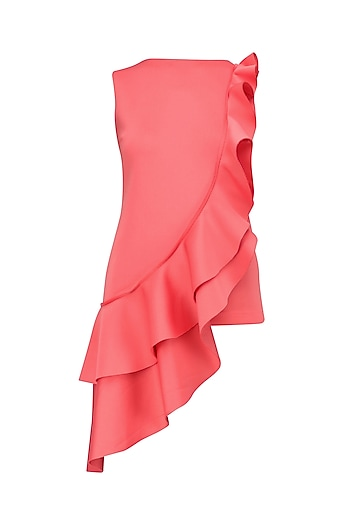 Pink Asymmetrical Ruffle Top by Samatvam By Anjali Bhaskar