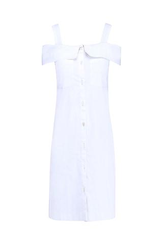 Ivory Cold Shoulder Shirt Dress by Samatvam By Anjali Bhaskar