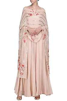 Blush Pink Anarkali Gown with Embroidered Cape Dupatta by Samatvam By Anjali Bhaskar