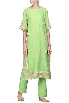 Mint Green Embroidered Kurta with Pants by Samatvam By Anjali Bhaskar